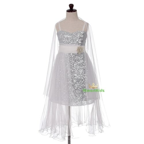 Train Sequined Tulle Dresses Wedding Flower Girl Occasion Party Size 212 FG349