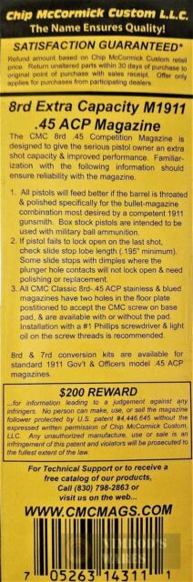 Chip McCormick 1911 8rd 45 ACP Blued Classic Series Magazine 14311 for sale online