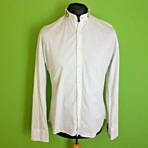 Camisa-para-hombre-Burberry-Brit-Tamano-Grande-Blanco-Ajustada-Algodon-Tartan-Recorte-Grandad-Coll