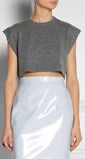 Días de colegio: Miu Miu Gris Sin Mangas Camiseta sin mangas Corto fine cashmere nuevo IT46/UK14