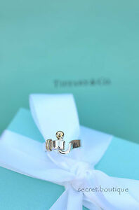 AUTHENTIC-Tiffany-amp-Co-18k-Gold-amp-Sterling-Silver-Buckle-Ring-Size-5-589