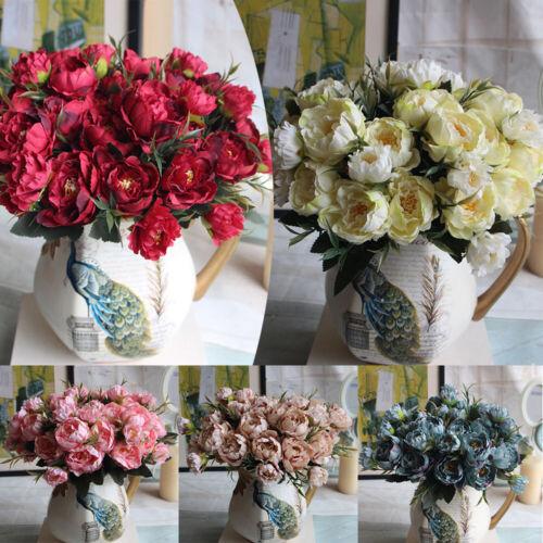 1PC Artificial Peony Silk Flowers Bouquet Leaf Floral Hydrangea Garden Plant