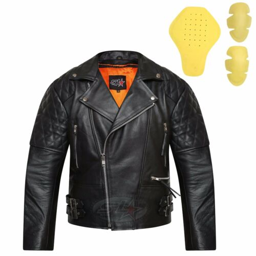 New Real Leather Motorbike Touring /& Urban Motorcycle CE Armoured Biker Jacket