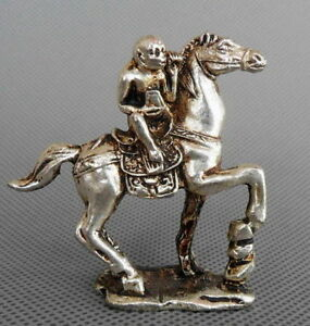 CHINESE-HANDWORK-MIAO-SILVER-CARVING-MONKEY-RIDE-HORSE-HOLD-WEALTH-LUCKY-STATUES