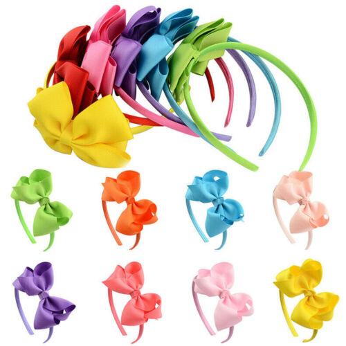 Girls Kids Hair Band Solid Headband Bow Knot Hoop Hairband Hair Accessories