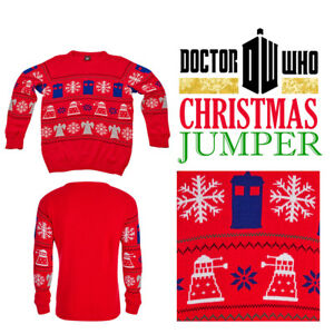 Doctor Dr Who Jumper Bbc Official Tardis Daleks Christmas Sweater