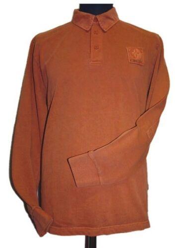 Signum Crew vintage fit hommes pull manches longues orange unicolore coton taille s