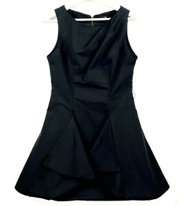 CUE-Women-039-s-Size-10-Black-Sleeveless-Layered-Pleated-Shoulder-Fit-amp-Flare-Dress