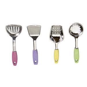 4Pcs 1//12 Dollhouse Kitchen Miniature Metal Color Spatula for Dollhouse Decor