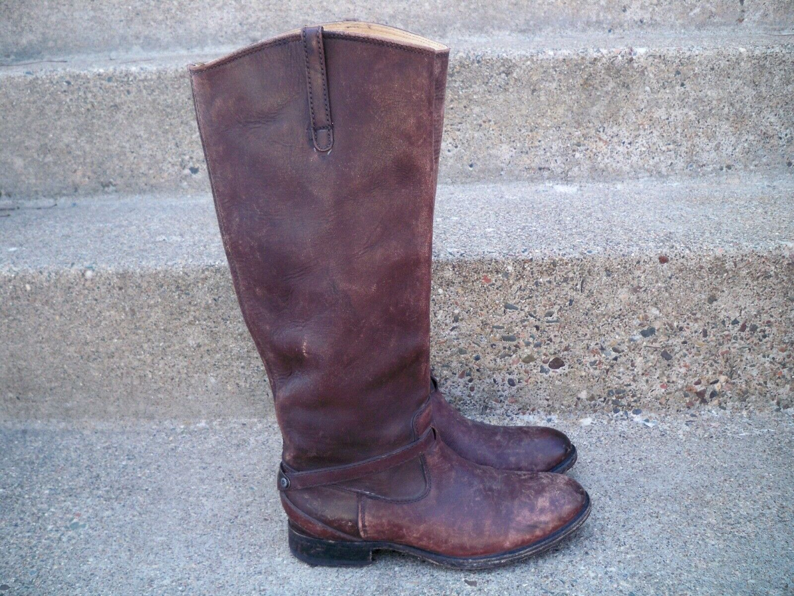 FRYE Women's Lindsay Plate Knee-High Riding Tall Leather Motorcycle Boots Boots Boots Size 6 0d3aa9