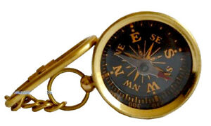 Shiny Brass Collectable Compass Hiking Compass Nautical KeyChain Marine Compas