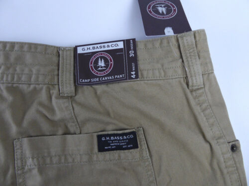 Bass /& Co Camp Side Canvas Pants Flannel Lined Cotton Twill  NWT $100 Kelp G.H