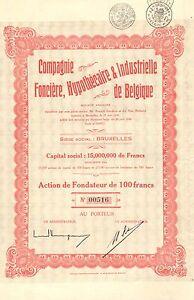 Co-Fonciere-Hypothecaire-amp-Industrielle-de-Belgique-accion-de-fundador-1930