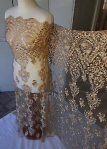 """2 MTR DARK  GOLD  EMBROIDED DIAMOND STUDS  BRIDAL LACE NET FABRIC..58/"""" WIDE"""