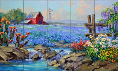 Bluebonnet Tile Backsplash Ceramic Mural Senkarik Country Landscape Art MSA188