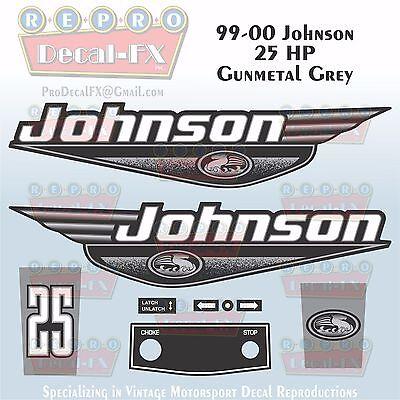 1999-00 Johnson 25 HP Gunmetal Grey Outboard Reproduction 9Pc Marine Vinyl Decal