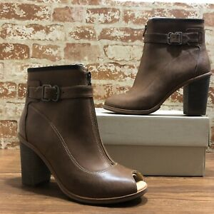 TIMBERLAND WOMENS BOOT COMPANY MARGE PEEP TOE BOOTS A1IPR636 RUSSET BROWN SZ:10