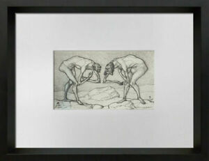 Paul-KLEE-Lithograph-LTD-Edition-Two-men-meet-higher-rank-034-w-FRAME-Included