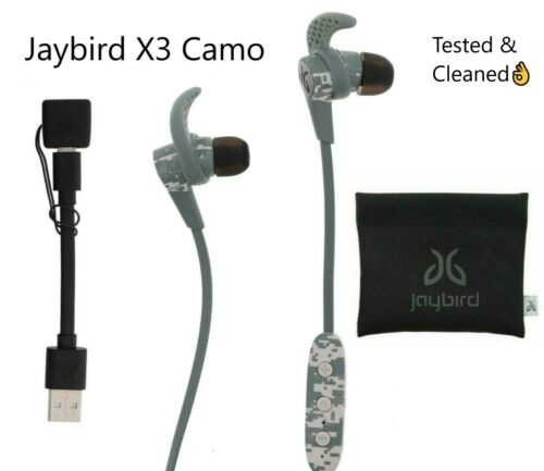 Jaybird X3 Wireless Headphones Bluetooth In-Ear Sport Camo Used Good