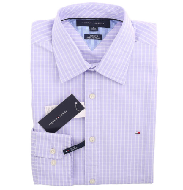 Tommy Hilfiger Men Long Sleeve Custom Fit Button Down Plaid Casual Shirt $0 Ship
