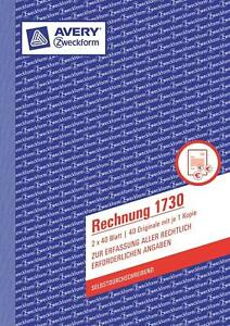 AVERY-Zweckform-Formularbuch-034-Rechnung-1730-034-SD-2-x-40-Blatt