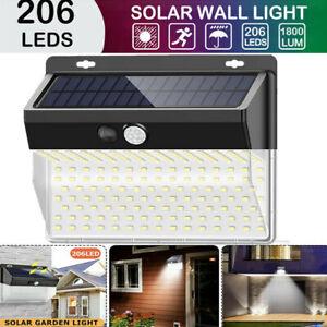206-LED-Solaire-Exterieur-Projecteur-Lampe-Capteur-Lumiere-Mouvement-Jardin