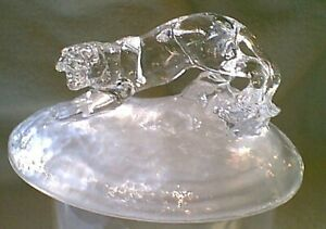 Beautiful-French-Cristal-d-039-Arques-Crystal-Crouching-Tiger-on-Frosted-Base-NEW
