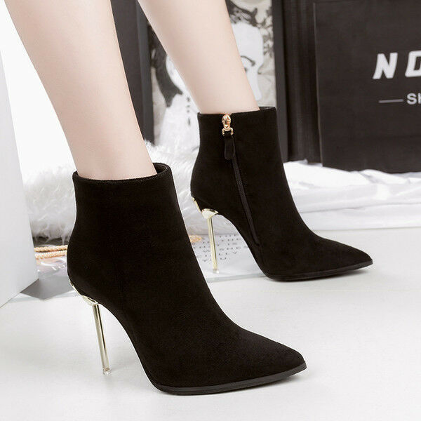 bottes bas stiletto 11 cheville noir comme élégant comme noir du cuir 9544 70d710