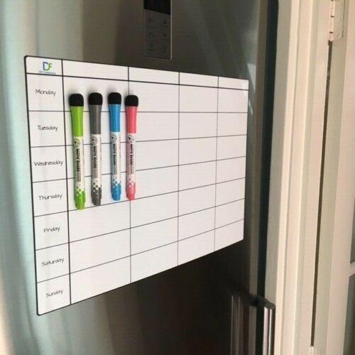 Fridge Board Magnetic Weekly Planner Notice Memo Meal Whiteboard Large  4 pens