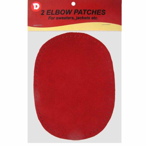 2 Natural Suede Leather Sew-On Elbow Repair Patches 4.5 x 5.5 in Dk Red