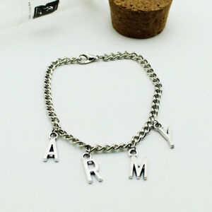 Image Is Loading Kpop Bts Bangtan Boys Army Charm Bracelet Silver