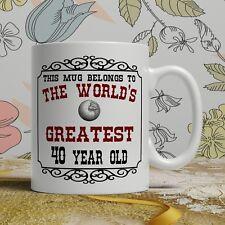 40th Birthday Gift Mug Happy 40 Present Idea Men Women Ladies Mum Dad Him Her
