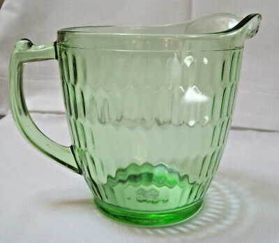 Honeycomb Optic Green Glass Pitcher Teleflora 75 Years Reissue Depression Glass Ebay