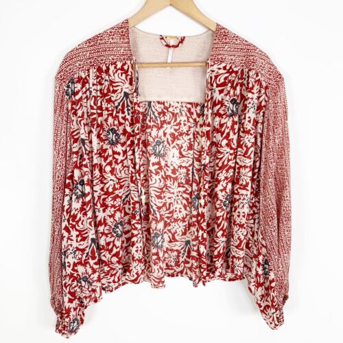 Free People Red Open Front Boho Peasant Top Size S