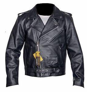 Homme-en-Cuir-Brando-Veste-Motard-Classique-Moto-Moto-vintage-perfecto