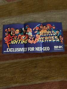 11 8 1 4 Art Of Fighting World Heroes Neo Geo Arcade Video Game Flyer Ebay