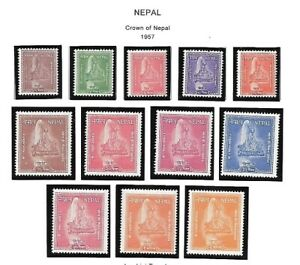 Nepal-1957-Scott-90-101-Crown-of-Nepal-Mint-never-Hinged-XF-EBNE04