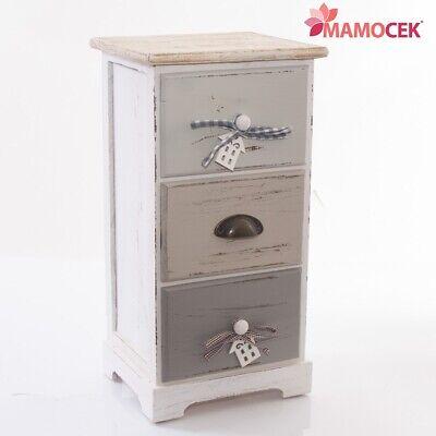 Bello Mobiletto Cassettiera Legno House 3 Cassetti 29x25 H56 Grigio Beige Shabby Chic Facile E Semplice Da Gestire