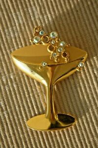 Vintage-1970s-JJ-Champagne-Toast-Martini-Glass-Large-Crystal-Brooch-Pin