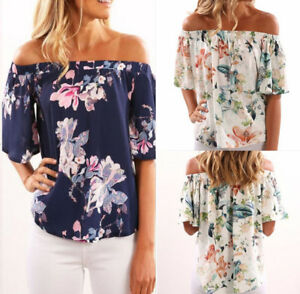 Womens-Off-Shoulder-Short-Sleeve-Floral-T-Shirt-Ladies-Summer-Beach-Tops-Blouse
