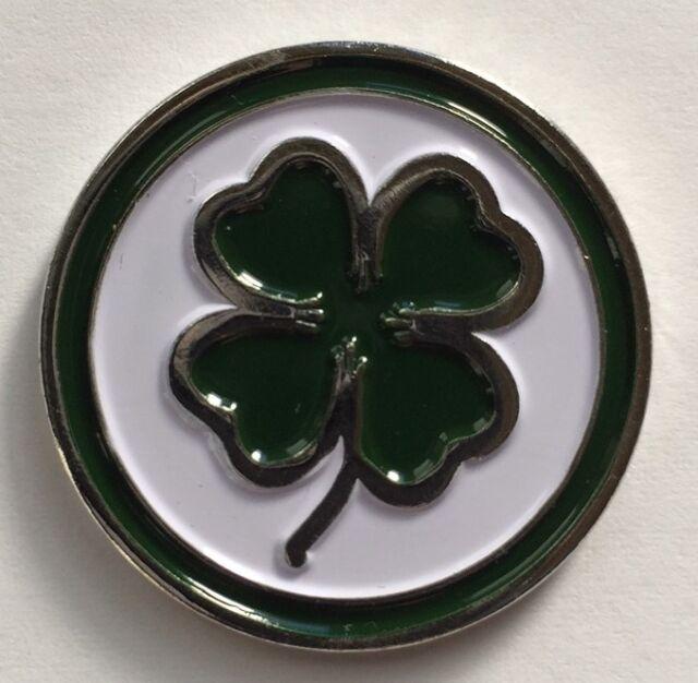 Premium Lucky Irish Four Leaf Clover Golf Ball Marker Magnetic Hat Clip 8195523f47c6