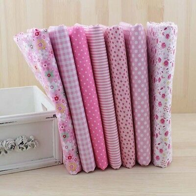 7PCS 50x50cm Pink cotton patchwork fabric Quilting diy doll cloth craft material
