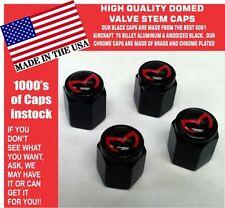 4 Billet Aluminum Mazda Evil M Mazdaspeed 3 5 6 Valve Stem Air Caps Black/Red