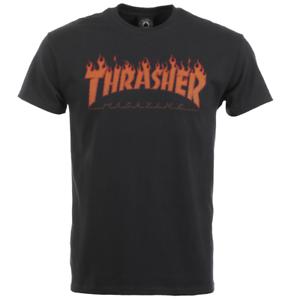 Thrasher Mag Halftone Flame Logo Black Short Sleeve T-Shirt Size M ... 137e3784b