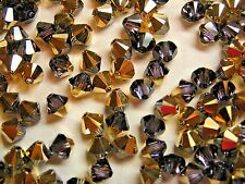 360 PIECES SWAROVSKI BEADS #5328 6MM BICONE - CRYSTAL AURUM - FACTORY PACKAGE