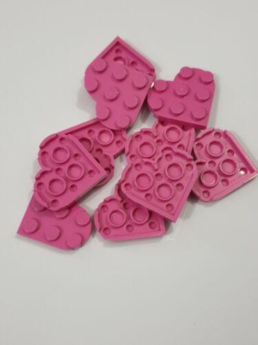 ,5 parts 39613 Lego dark pink plate round 3x3 heart