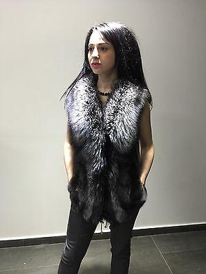 Mink Real Fur Mexa Black Cross Mink Full Skin Vest Silver Fox Collar