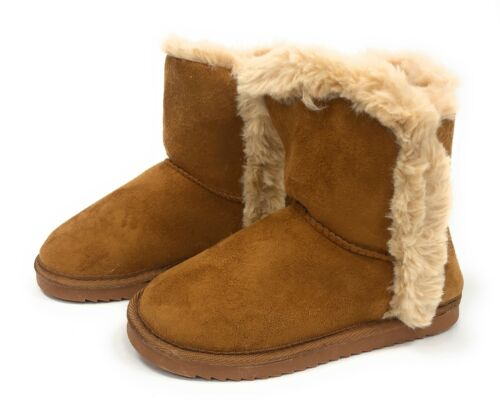 Girls Womens School Snug Warm Winter Ankle Faux Fur Tan Shoes Boots Sz 13-5