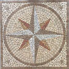 Rosoni rosone mosaico in marmo ,rosa dei venti ccon stelline cm 100x100  Noce