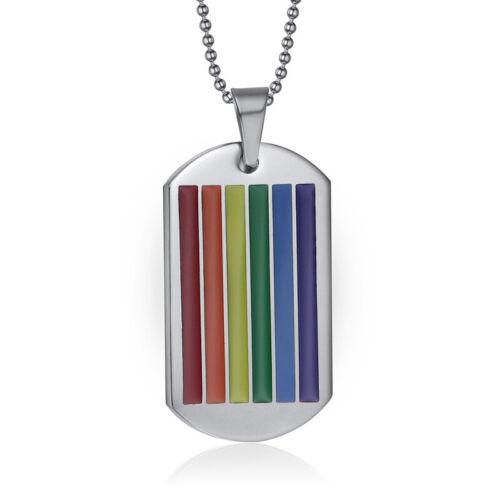 Collar De Arco Iris Orgullo Gay Lesbiana Cadena y colgante LGBT Trans De Acero Inoxidable